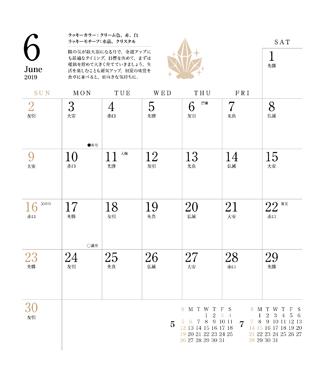 ユミリー風水 夢を叶える 開運 金運 幸運 Calendar 2019